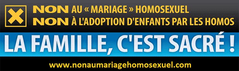 vous êtes tous attendus le dimanche 18 novembre à la grande manifestation nationale « OUI à la Famille – NON au mariage homosexuel et à l'adoption d'enfants par des duos homosexuels ». banniere